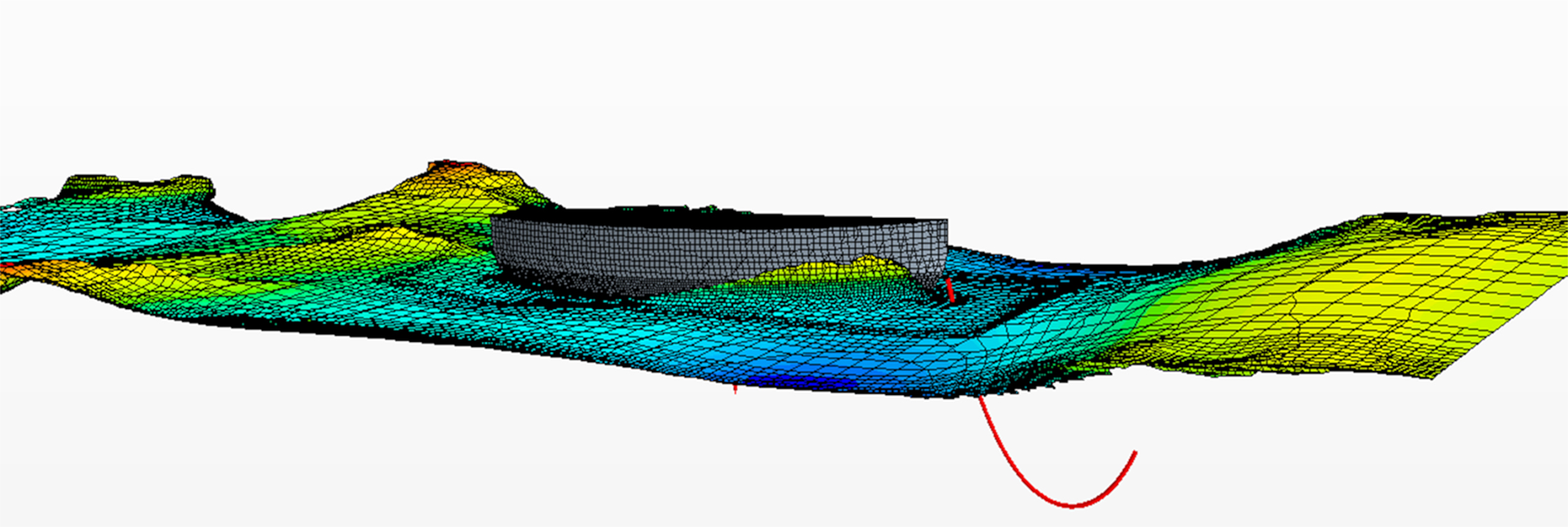 The wave motion and a ship's rolling motion can be simulated with Computational Fluid Dynamics (CFD).